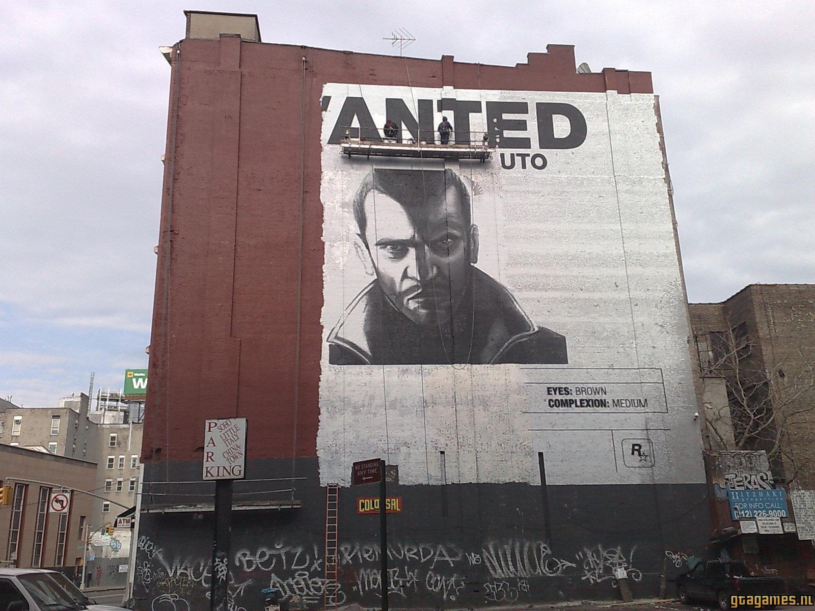 GTA4 wanted poster muur schildering